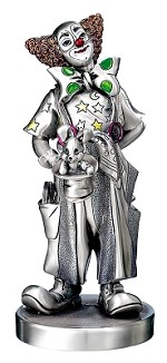 Silver Plated,  Clown Magician, Hand Crafted,  Medium. Made in ITALY