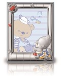 STERLING SILVER Picture Frame Choco Bear & LadyBugs. Made in ITALY