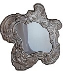 One-of-a-Kind, Antique STERLING SILVER MIRROR with MAHOGANY Back. Made in ITALY